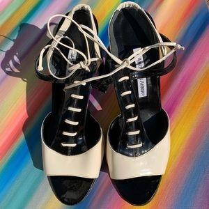 Manolo Blahnik Black/White Patent Heels EUC sz38.5